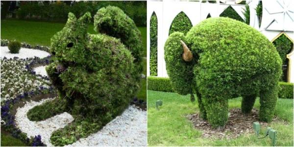 Аналогичным способом можно создать не только белку, но и более крупных животных. Как так, у вас в саду еще нет зеленого буйвола?