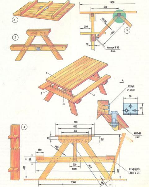 Чертеж дачного деревянного стола со скамейками.