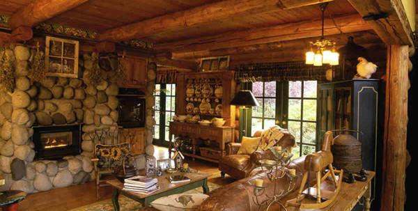 Деревенский стиль оформления отличается максимальным использованием природных материалов