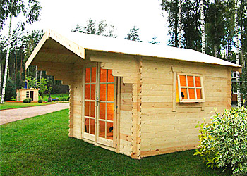Деревянный садовый домик-бытовка с декоративным навесом