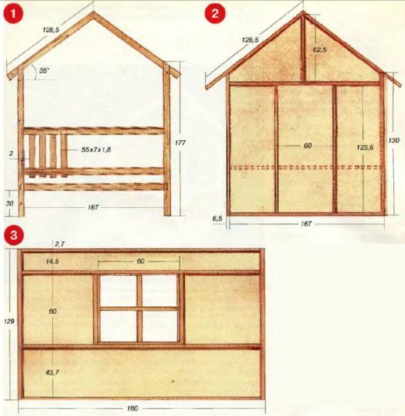Детский домик для дачи своими руками - чертежи стен, крыльца и крыши