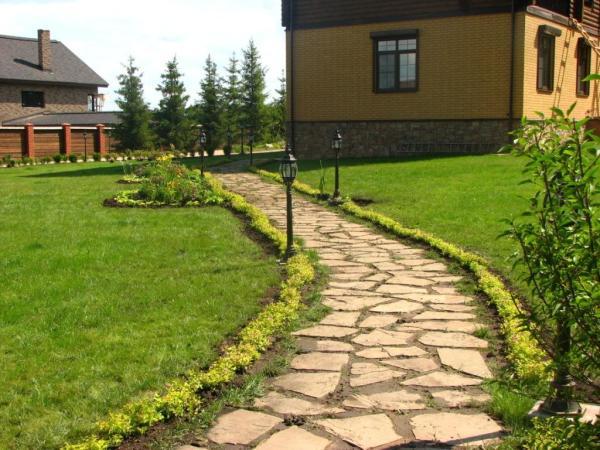 Дорожка, мощенная камнем, разнообразит газон перед домом