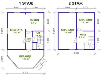 Двухэтажный план дачи