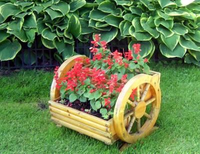 Если сад большой, используйте тележку для создания клумбы