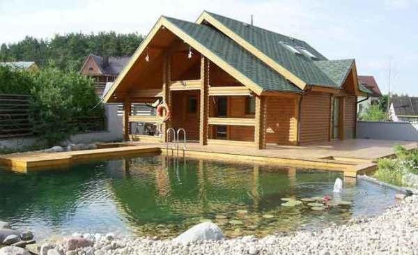 Искусственный водоем возле бани – прекрасное ландшафтное решение