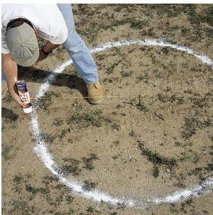 Как сделать ровный круг: вбейте в землю колышек, привяжите к нему веревку и с помощью баллончика или кисточки начертите ориентир