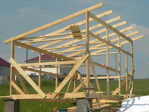 Каркас односкатной крыши небольшого дачного домика