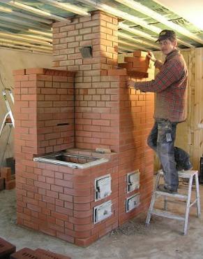 Кирпичная газовая печь для отопления