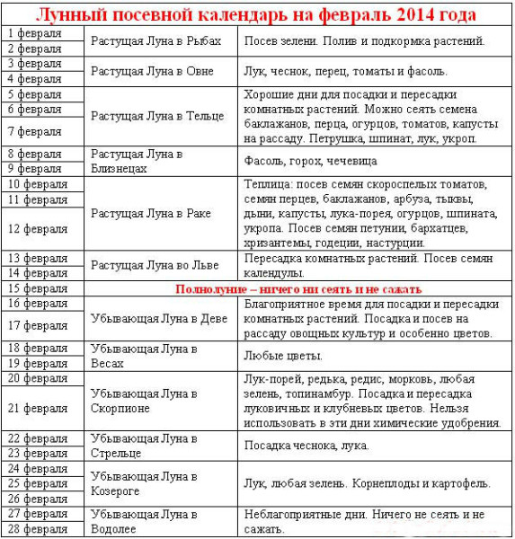 Лунный календарь садовый на февраль 2014 года с рекомендациями