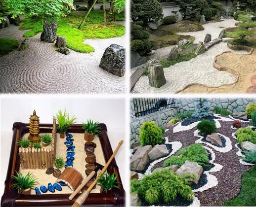 На фото - как сделать настольный каменный сад и на дачном участке