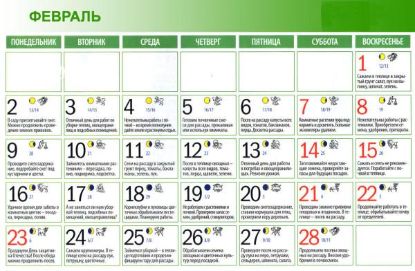 На фото – февральский календарь для садово-огородных работ