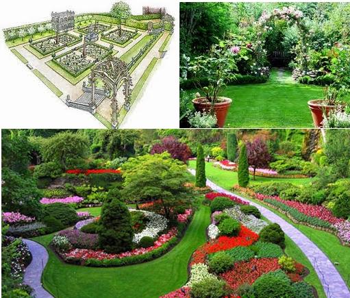 На фото – варианты композиций английского пейзажного сада