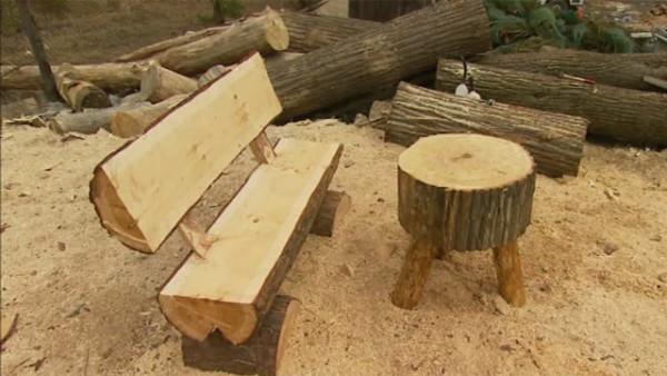 На фото показана простейшая лавочка и столик из цельного бревна.