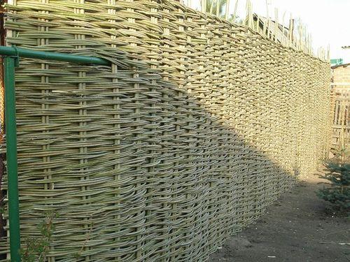 На фото забор, сплетённый из ивовых прутьев