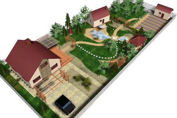 На рисунке - дизайн проект дачного участка на 15 соток. Как легко заметить, строения на нем разнесены на максимальное расстояние.