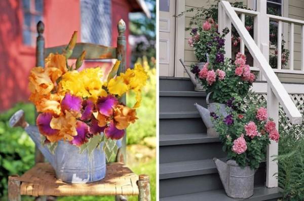 Не знаете, как украсить колонку в саду? Старые лейки, ведерки и тазики могут превратиться в замысловатый декоративный вазон