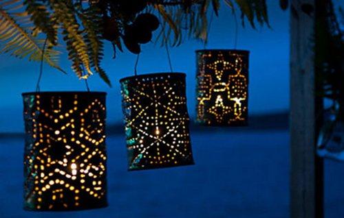 Необычные фонарики из жестяных банок