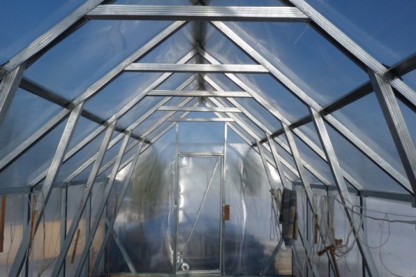 Основой для теплицы может послужить металлический профиль, используемый для возведения гипсокартонных стен (как на фото)