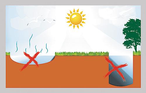 Освещение играет важную роль при выборе места расположения водоема