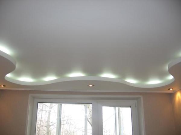 Отделанный гипсокартоном потолок