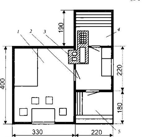 План дачного домика с печью