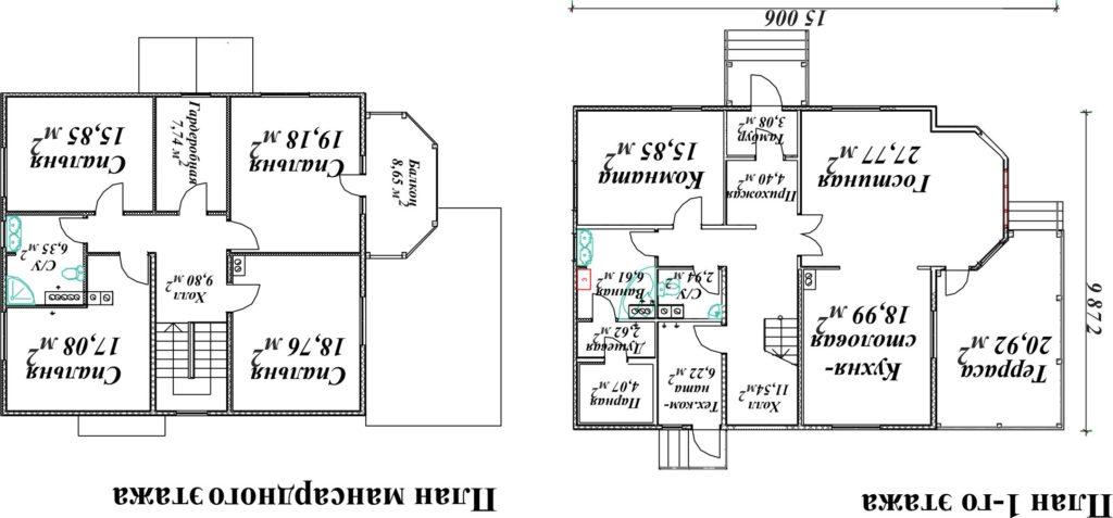 План двухэтажного дома с баней, расположенной на первом уровне