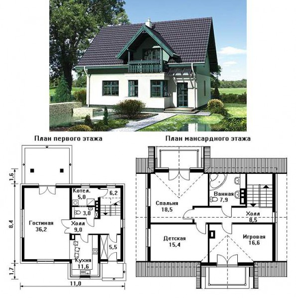План-проект дачного домика с мансардой