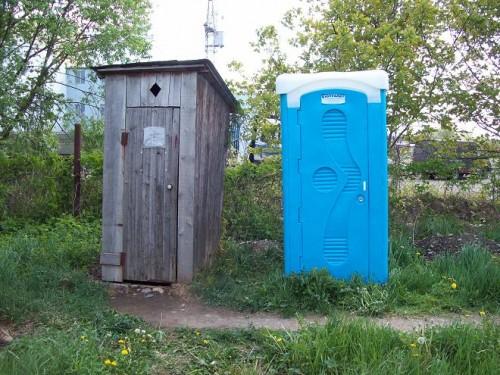 Пластиковая кабина или самодельный деревянный туалет? Выбор за вами.