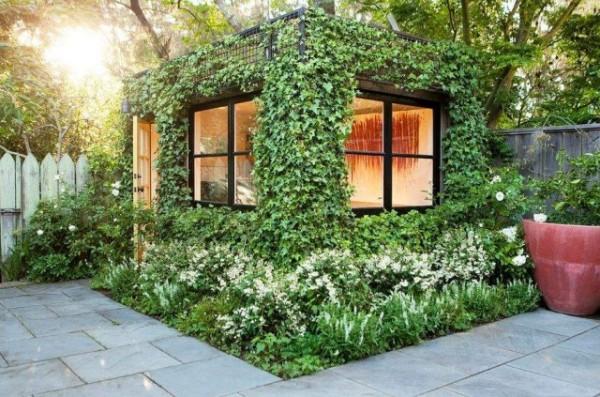 Полностью обтянув небольшое строение шпалерной сеткой, вы получаете «живую» летнюю кухню или беседку (цена – 90 руб. м²)