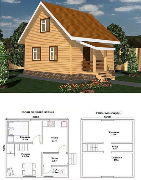 Постройка из стеновых блоков с отделкой из блок-хауса