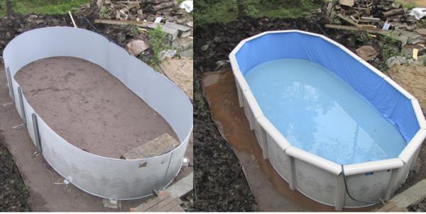 При желании емкость для воды можно сделать самому, для этого потребуется пластик листовой нужного размера, металлические столбы и материал для основания