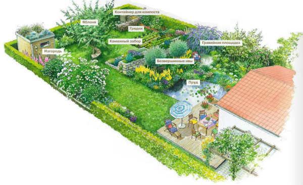 Пример удачно планировки участка с учетом места расположения пруда