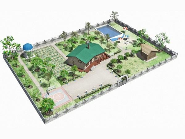 Проект с домом в центральной части и большой зоной отдыха