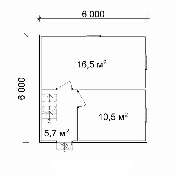Простейший план расположения помещений в домах заданного типа, при учете создания двух комнат и коридора