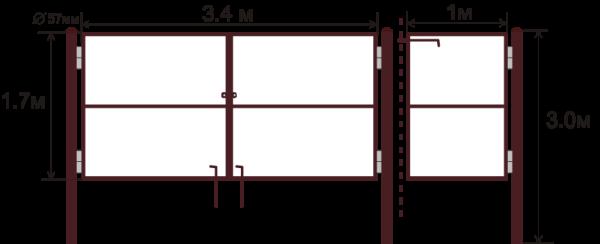Рама калитки и ворот с опорными столбами