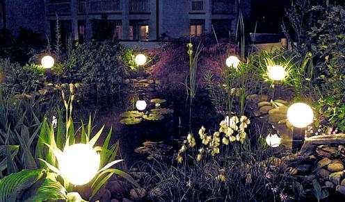 Садовые электрические фонари шарообразной формы