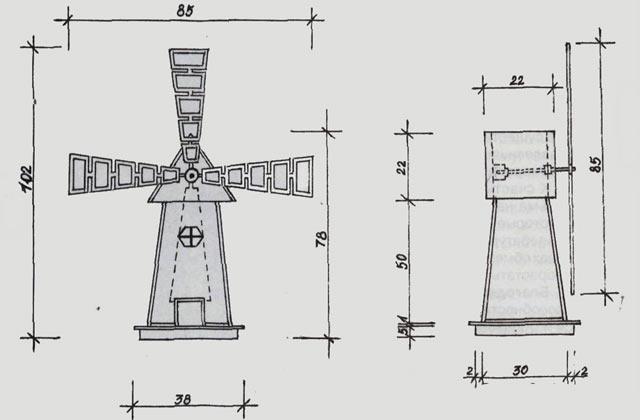Схема декоративной мельницы