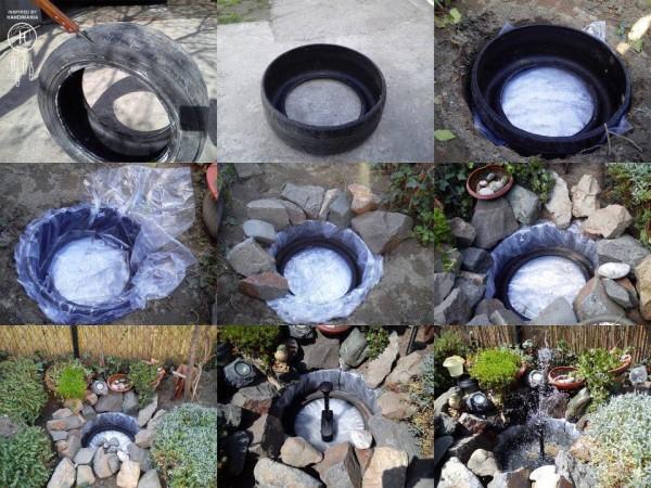 Схема изготовления водоема из покрышки.