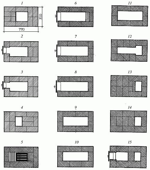 Схема рядов небольшой печки для дачи