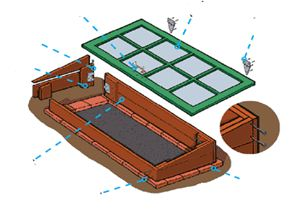 Схема сборки элементов теплицы.
