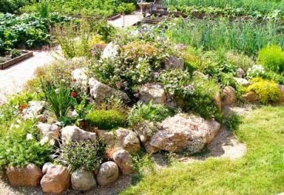 Слаживаем камни в саду в виде альпинария
