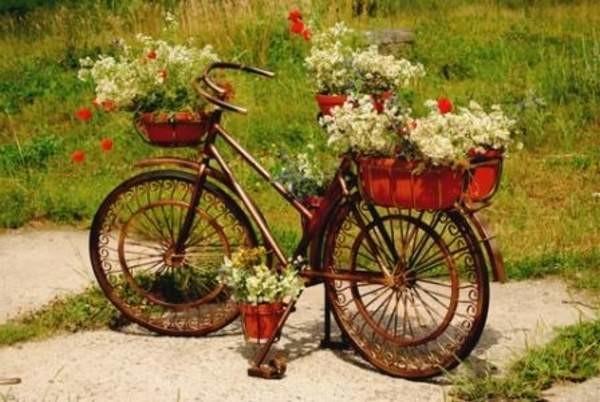 Старый велосипед идеально подходит для создания держателя под горшки