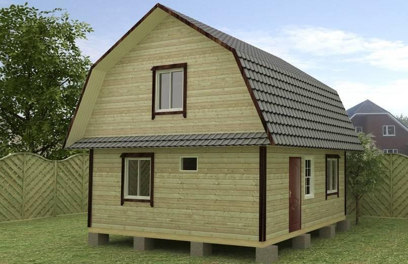 Типовой проект деревянного загородного дома на столбчатом фундаменте.