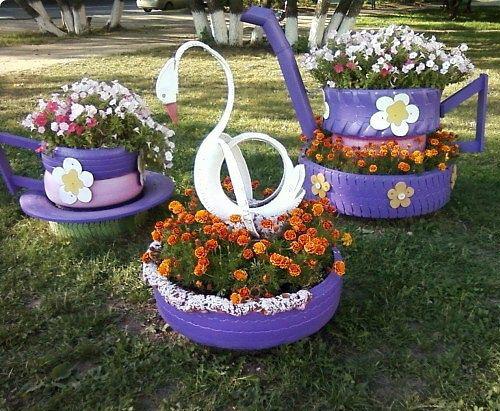 Цветники из покрышек