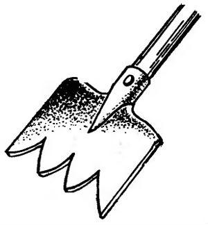 Зубьевидная лопата для удаления корней