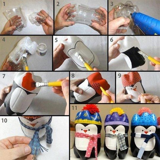 А зимой сад можно «заселить» забавными пингвинами из пластиковых бутылок