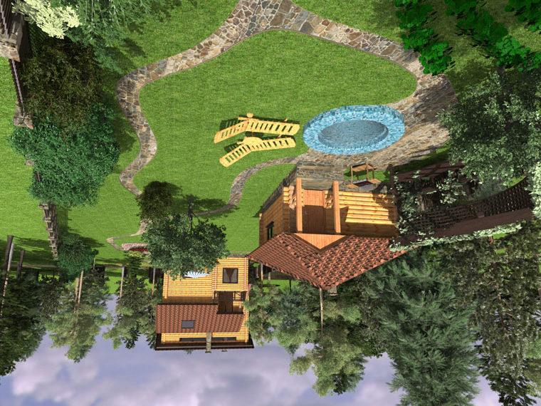 Баня должна органично вписываться в дизайн участка