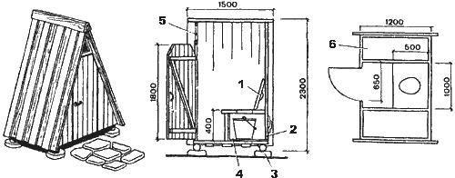 Чертеж дачного туалета типа шалаш или теремок