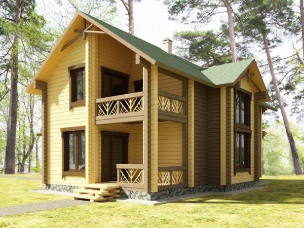Двухэтажная деревянная дача.
