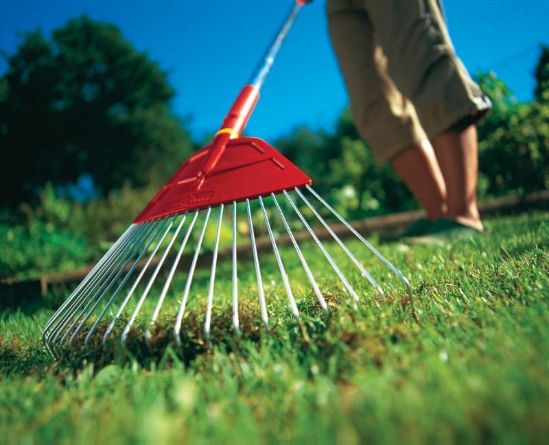 Веерные грабли могут быть пластиковые или металлические, рабочая часть их похожа на букву V. Используются только для работы с травой и газоном, землю ими рыхлить не рекомендуется.